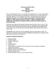 "Study Guide for Introduction to Public Healthâ€""Exam III - Fall 2011"