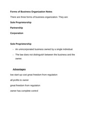 Forms of Business Organization Notes