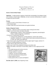 Assignment Acute Chronic Illness Project Med Surg
