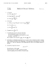 Math 1A - Fall 2001 - Vojta - Midterm 2