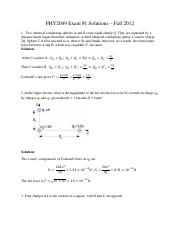 Exam 1 Fall 2012 Solutions