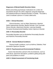 Diagnoses of Mental Health Disorders Notes