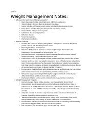 Week 13 Notes-Weight Management