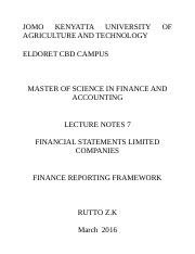 Financial Reporting notes 7