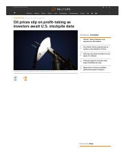 Oil prices slip on profit-taking as investors await U.S.pdf