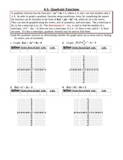 Study Guide on Quadratic Functions
