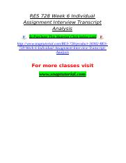 RES 728 Week 6 Individual Assignment Interview Transcript Analysis.doc