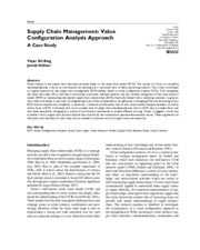 Supply Chain Management- Value Configuration Analysis Approach