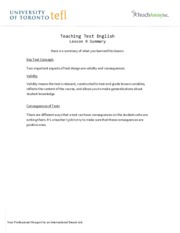 Teaching Test English - Lesson 9 Summary