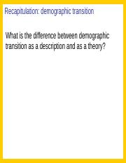 Recap Demographic Transition