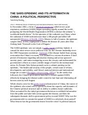THE SARS EPIDEMIC AND ITS AFTERMATH IN CHINA.docx