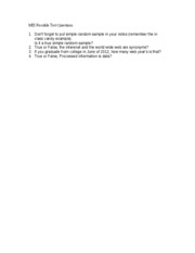 Exam 1 -  Possible Test Question [Version 3]- Fall 2006 - Cleveland