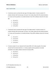 Unit 6 - Quiz 3 - MA3110 Statistics Quizzes and Exams QUIZ 3 ...