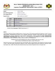 Stpm Pdf Sijil Tinggi Persekolahan Malaysia 2019 Semester 1 S1 Laporan Pendaftaran Kemasukan Calon Lpkc Nama Lim Hui Mei No Kad Pengenalan 00 No Angka Course Hero