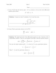 Quiz 1 Solution on Differential Equations and Linear Algebra