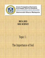 Lecture 1 - Soil Science