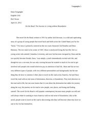 English 1102 Paper for On the Road