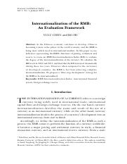 Internationalization of the RMB  An Evaluation Framework.pdf