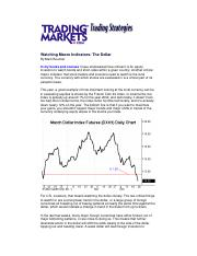 Finance - Market Trading Strategies - Watching Macro Indicat