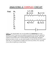 ANALYZING A COMPLEX CIRCUIT