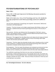201 FOUNDATIONS OF PSYCHOLOGY DQs.docx