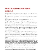 trait-based leadership models