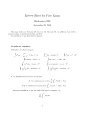 MATH 2300 Exam 1 Review (Fall 2006)