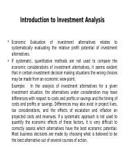 9 (A) Project Investment Valuation