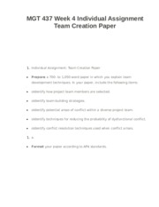 MGT 437 Week 4 Individual Assignment Team Creation Paper
