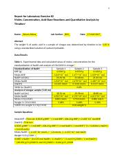 CHEM 101 - B03 - Laboratory Exercise #2 Report - Weam Abbas - V00863129 - Graded