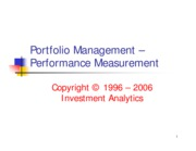 Portfolio Management - Performance Measurement
