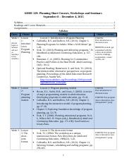 ADHE 329 Syllabus And Assignments Information-Revised for Fall 2015