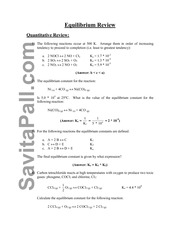 Quantitative Equilibrium Review