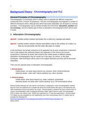 Background Theory chromatography and TLC 2014