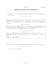 Math 51 Exam 2, Spring 2011 Solutions