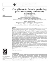 compliance to islamic marketing practices among businesses