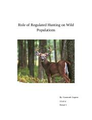 Role of Regulated Hunting on Wild Populations-biology 3rd quarter