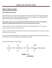 Chem 140B Lecture Notes Winter 2016  Chapter 12 Reactions of Alkenes