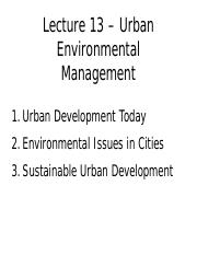 GEOG 2EI3 Lecture 13: Urban Environmental Management