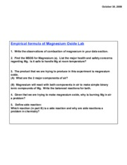 Magnesium oxide lab-discussion questions