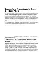 Diamond and Jewelry Industry Crime Article