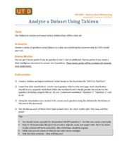 Analyze a Data Set Using Tableau - Assignment 4