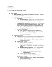 Psych 111 Chapter 16 and Persuasion Notes