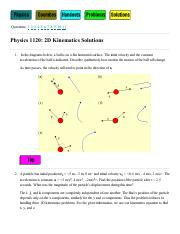PHYS 1120 2D Kinematics Solutions