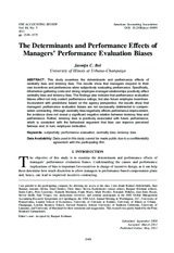 Bol, J. C. 2011. The Determinants and Performance Effects of Managers' Performance Evaluation Biases