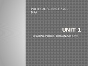 Unit 1 - Leading Public Organizations