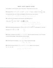 Math 5C - Test #3 - Chapter 14 - Fall 2013 - SOLUTIONS
