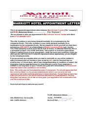 MARRIOTT HOTEL APPOINTMENT LETTER (8 - MARRIOTT HOTEL APPOINTMENT ...