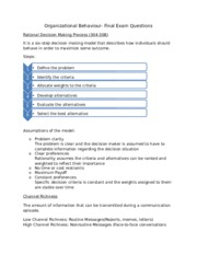OB Final Exam Questions - Organizational Behaviour Final Exam