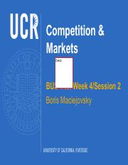 BUS-149 Week 4 Competition and Markets Session 2 - F2016